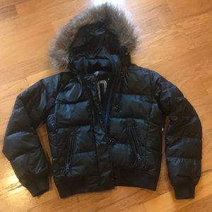 Gap Puffer Bomber Jacket detachable faux fur hood